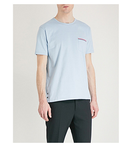 THOM BROWNE Patch pocket cotton T-shirt (Pale+blue