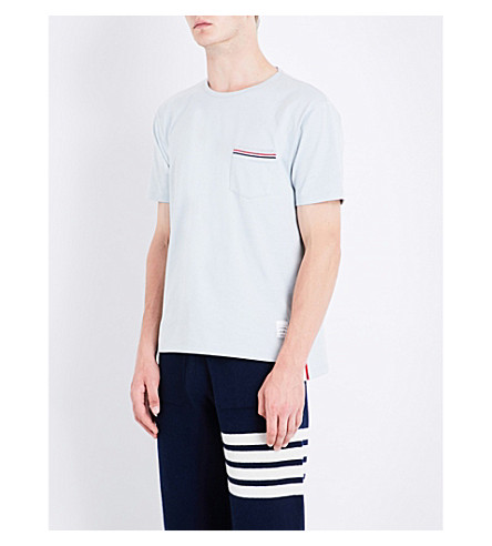 THOM BROWNE Patch pocket cotton T-shirt (Pastel+grey