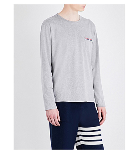 THOM BROWNE Striped-pocket cotton-jersey T-shirt (Light+grey