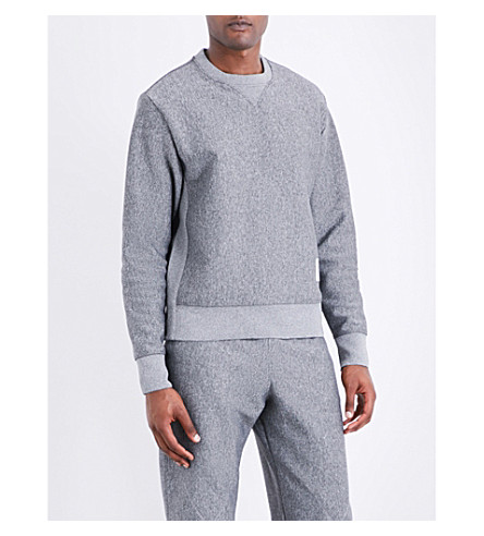 THOM BROWNE Quilted-detail double-face jacquard sweatshirt (Med+grey