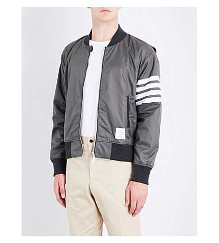 THOM BROWNE Stripe-print shell bomber jacket (Dark+grey