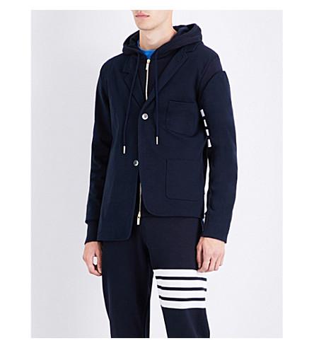 THOM BROWNE Hooded cotton-jersey blazer (Navy