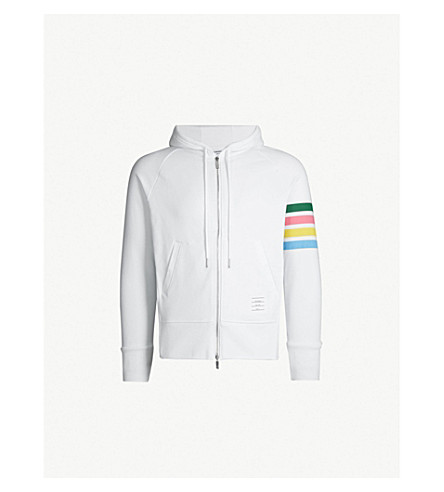 THOM BROWNE Rainbow-striped cotton-jersey hoody (White