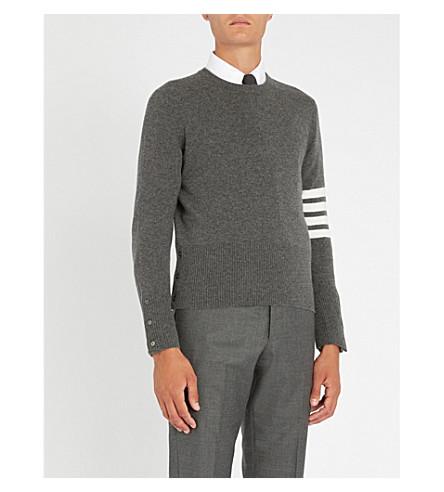 THOM BROWNE 4 bar cashmere jumper (Med+grey