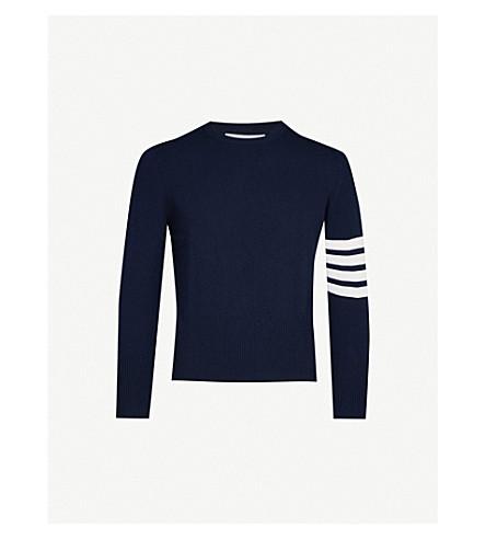 THOM BROWNE Contrast-stripe cashmere jumper (Navy