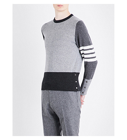 THOM BROWNE Fun Mix knitted cashmere sweater (Tonal+grey