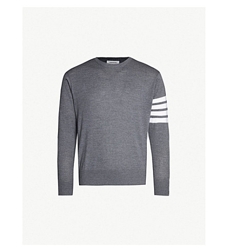 THOM BROWNE Striped-detail wool jumper (Med+grey