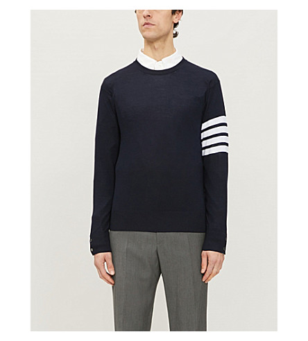 THOM BROWNE Striped-detail wool jumper (Navy