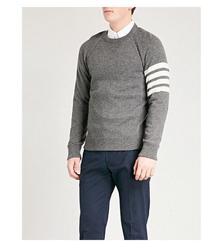 THOM BROWNE Striped detail cashmere jumper (Med+grey