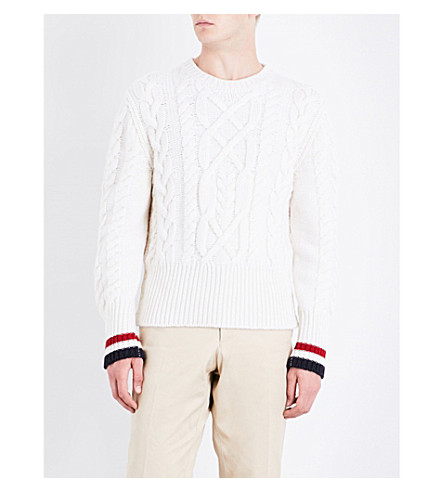 THOM BROWNE Contrast-trim cable-knit wool jumper (White