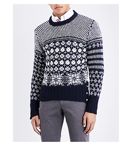 THOM BROWNE Snowflake intarsia wool and mohair-blend jumper (Navy