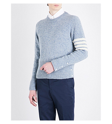 THOM BROWNE Striped-sleeve wool and mohair-blend jumper (Pale+blue