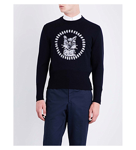 THOM BROWNE Thom Cat wool sweater (Navy