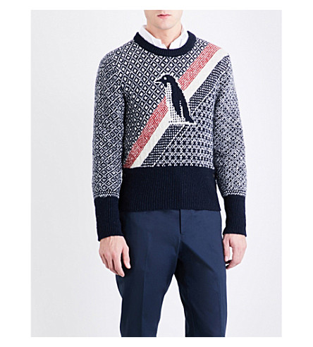 THOM BROWNE Penguin wool and mohair-blend jumper (Navy