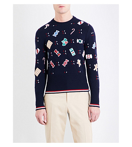 THOM BROWNE Holiday Candy wool jumper (Navy