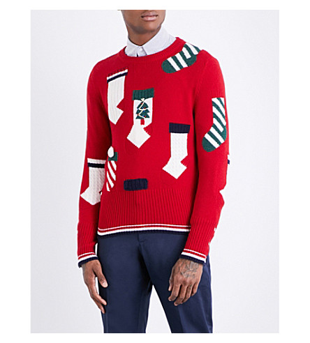 THOM BROWNE Holiday Stockings wool jumper (Red