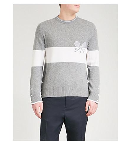 THOM BROWNE Two-tone intarsia cashmere jumper (Light+grey