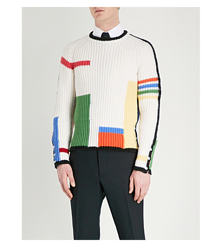 THOM BROWNE Colour-block wool jumper (Seasonal+multi