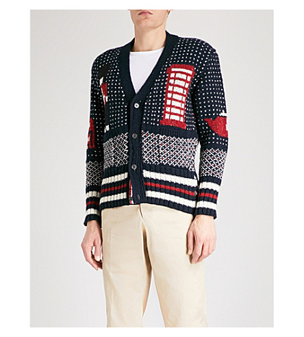 THOM BROWNE London Scene wool and mohair-blend cardigan (Navy