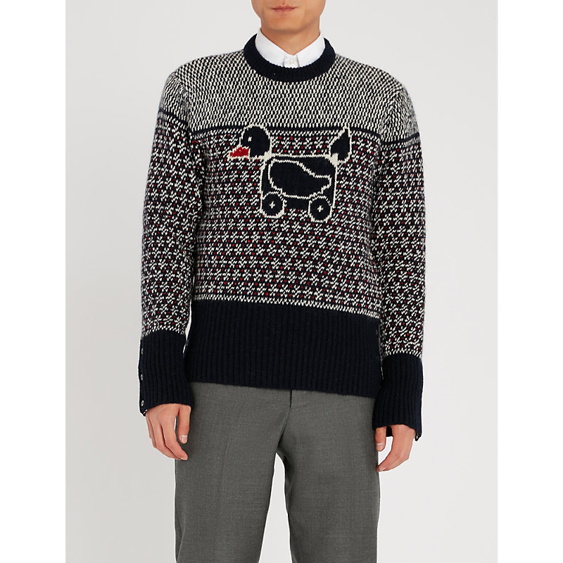 THOM BROWNE DUCK-EMBROIDERED WOOL AND MOHAIR-BLEND JUMPER