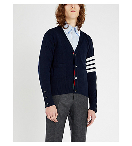 THOM BROWNE Signature-stripe cashmere cardigan (Navy