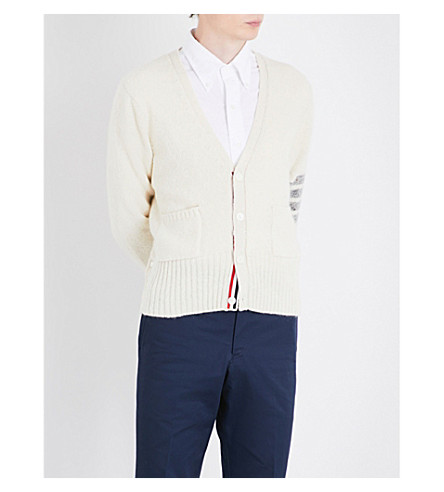THOM BROWNE Striped-sleeve wool and mohair-blend cardigan (White