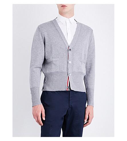 THOM BROWNE Hector wool cardigan (Light+grey