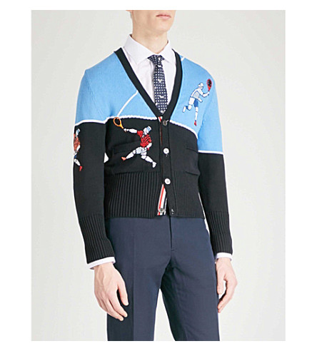 THOM BROWNE Tennis-embroidered knitted cardigan (Navy