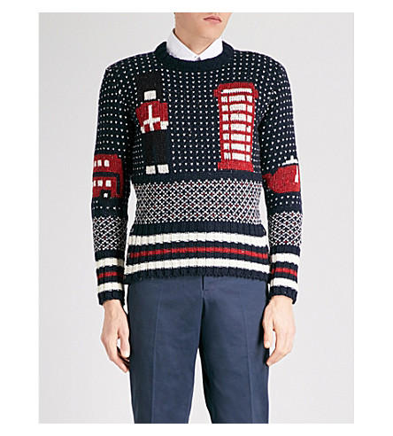 THOM BROWNE London Scene wool and mohair-blend jumper (Navy