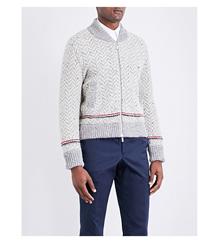 THOM BROWNE Striped-detail wool and mohair-blend bomber jacket (Light+grey