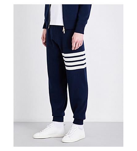 THOM BROWNE Stripe-detailed cashmere jogging bottoms (Navy