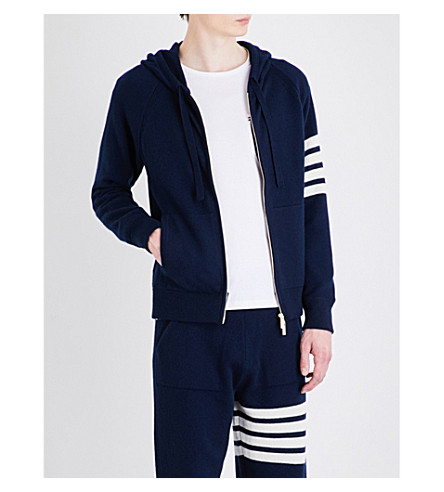 THOM BROWNE Stripe-detailed cashmere hoody (Navy