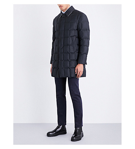 THOM BROWNE Down-filled wool-twill coat (Charcoal