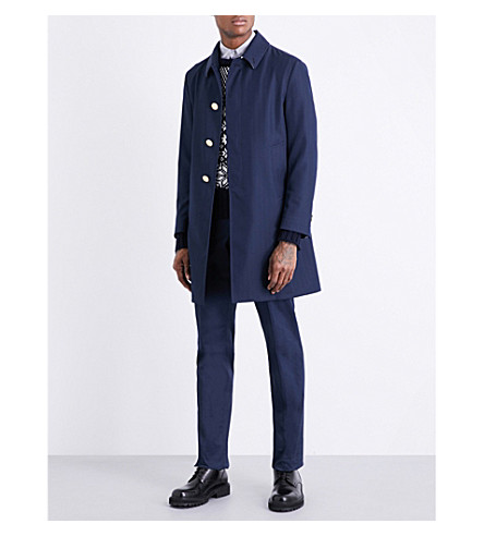 THOM BROWNE Button-back herringbone twill coat (Navy