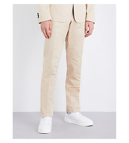 THOM BROWNE Regular-fit straight mid-rise cotton-twill chinos (Khaki