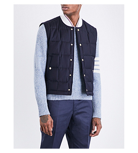 THOM BROWNE Quilted wool-twill gilet (Navy