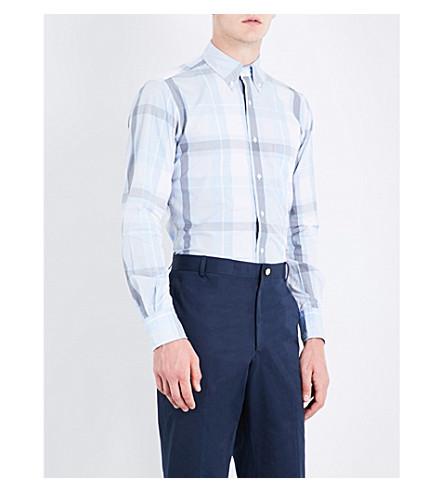 THOM BROWNE Check-pattern regular-fit cotton-poplin shirt (Light+blue