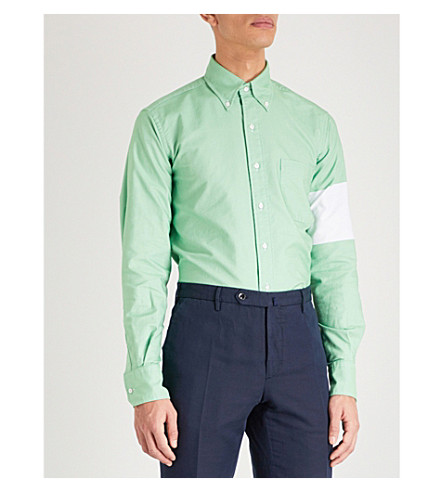 THOM BROWNE Patch classic-fit cotton Oxford shirt (Med+green