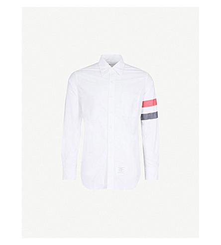 THOM BROWNE 条纹袖棉经典合身衬衫 (白色