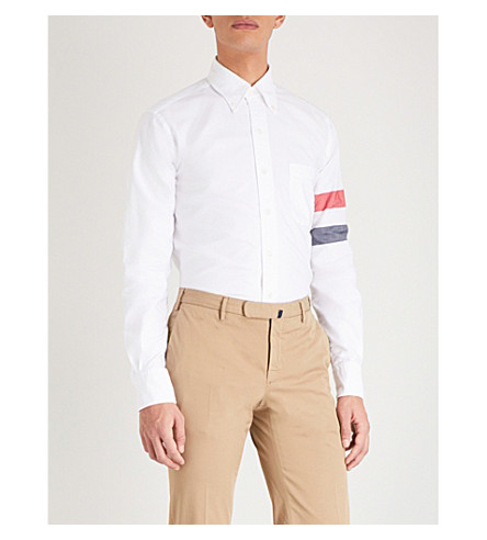 THOM BROWNE Striped-sleeve cotton classic-fit shirt (White