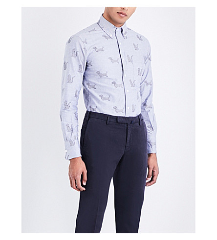 THOM BROWNE Hector-embroidered regular-fit oxford-cotton shirt (Navy