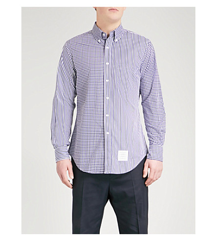 THOM BROWNE Contrasting printed regular-fit cotton shirt (Navy