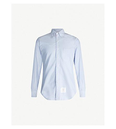 THOM BROWNE 签名条纹常规版型棉衬衫 (浅 + 蓝