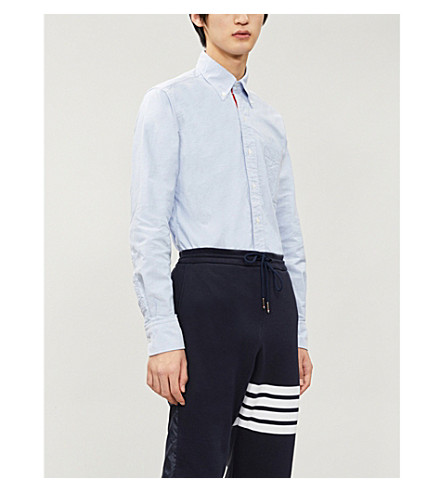 THOM BROWNE Signature-stripe regular-fit cotton shirt (Light+blue