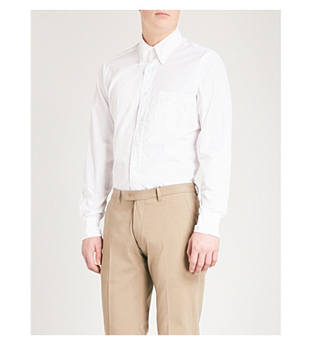 THOM BROWNE Signature-stripe regular-fit cotton-twill shirt (Off+white