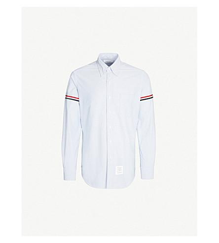 THOM BROWNE 签名条纹臂章常规版型棉衬衫 (淡 + 蓝