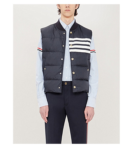 THOM BROWNE Signature-stripe armband regular-fit cotton shirt (Light+blue