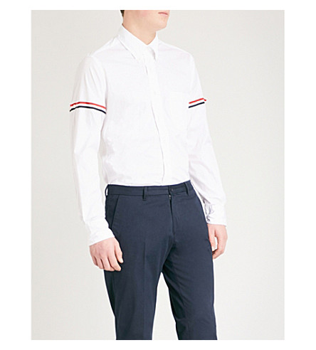 THOM BROWNE Signature-stripe armband regular-fit cotton-twill shirt (Off+white