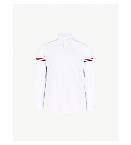 THOM BROWNE Signature-stripe armband regular-fit cotton-twill shirt (Pastel+blue