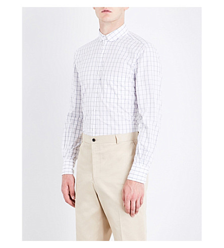 THOM BROWNE Windowpane check-pattern slim-fit cotton shirt (Med+grey